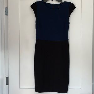 Aqua Size Small Fitted Stretch Dress Black/Navy